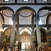 Interior of Santa Maria's Church of Randazzo. Black pillars and trim are made of black lava stone from Mt. Etna.