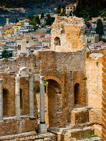 Greek Theatre of Taormina with the town in the background