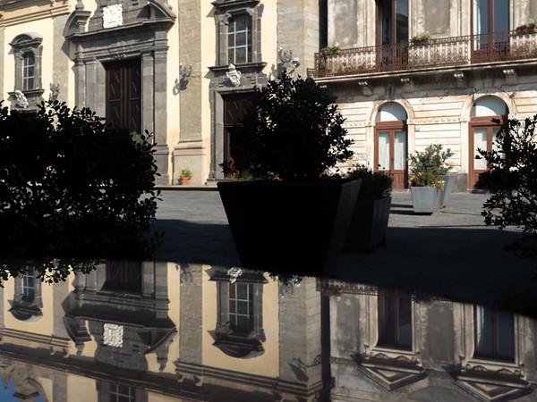 Stopping for espresso at Linguaglossa. <br /> <br /> Reflections of Chiesa Madre (Santa Maria Delle Grazie) Duomo di Linguaglossa