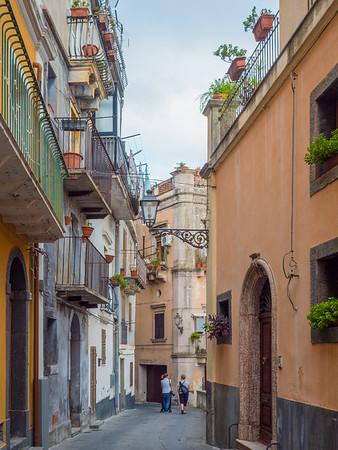 Micaela, Helene and Nancy walking the streets of Castiglione di Sicilia