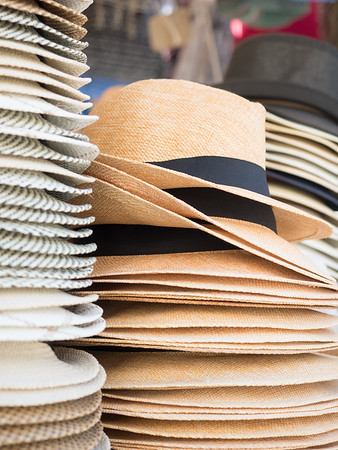Hats for sale at a market in Ortygia (Siracusa)
