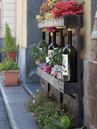 Welcoming street decorations at a restaurant in Randazzo