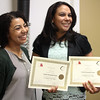 Lynn, Ma. 6-7-17. Teacher Dakota Robinson, left, poses with one of her students Calixta Hernandez Nunez at the student recognition ceremony for workplace English classes at Sidekim Foods in Lynn