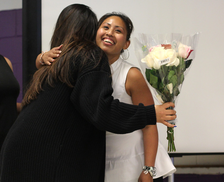 Lynn, Ma. 6-7-17. Jasmin Chhim gives Wanntha Sim Chanhdymany flowers for all the work she has done over the past seven years at the Lynn YMCA. The flowers were presented during the 5th annual Kaya Youth Recognition Ceremony at the Lynn YMCA. Wanntha is stepping back after seven years with the program.