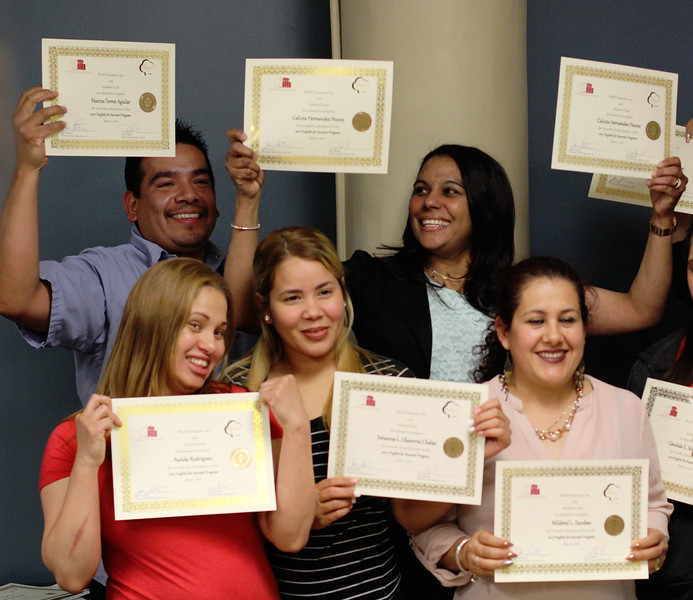 Lynn, Ma. 6-7-17. A portion of the 13 emkployees at Sidekim Food  who completed the workplace based English class. Back row: Marcos Torres and Calixta Hernandez Nunez. Front row left: Awilda Rodriguez, Yohanna Chalas, and Mildred Escobar.