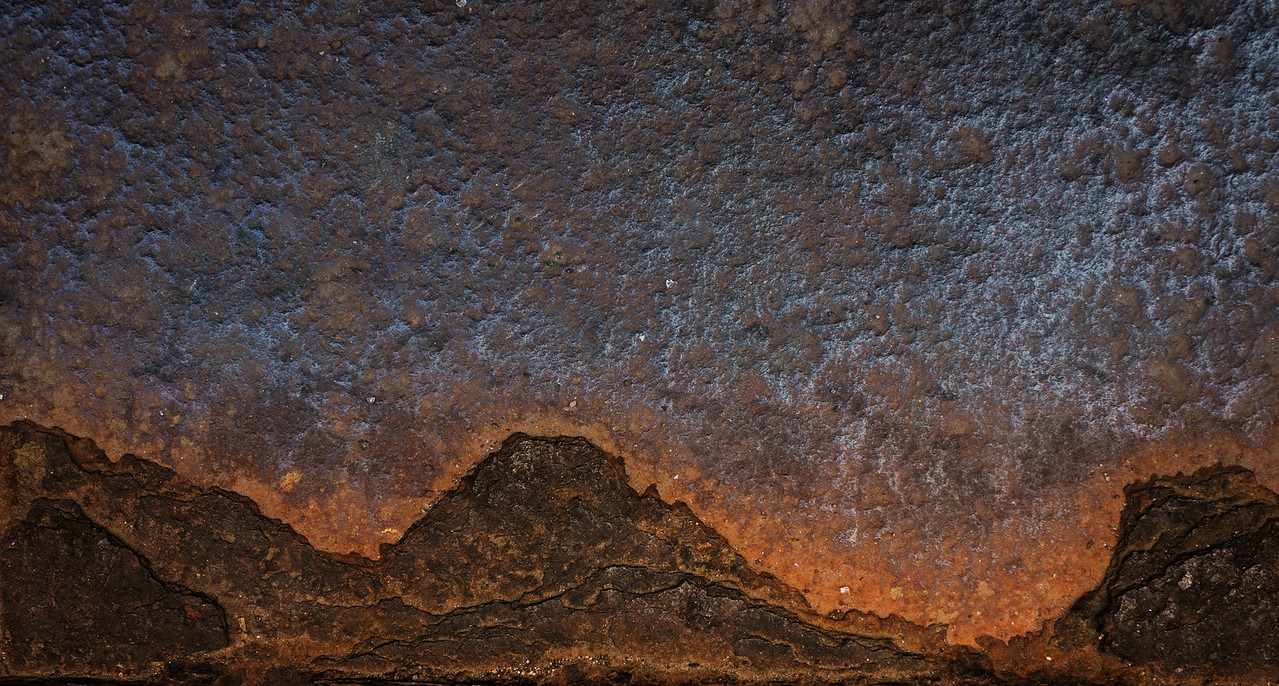 "Rusted Mountain with orange glow (18"" x 34"")"