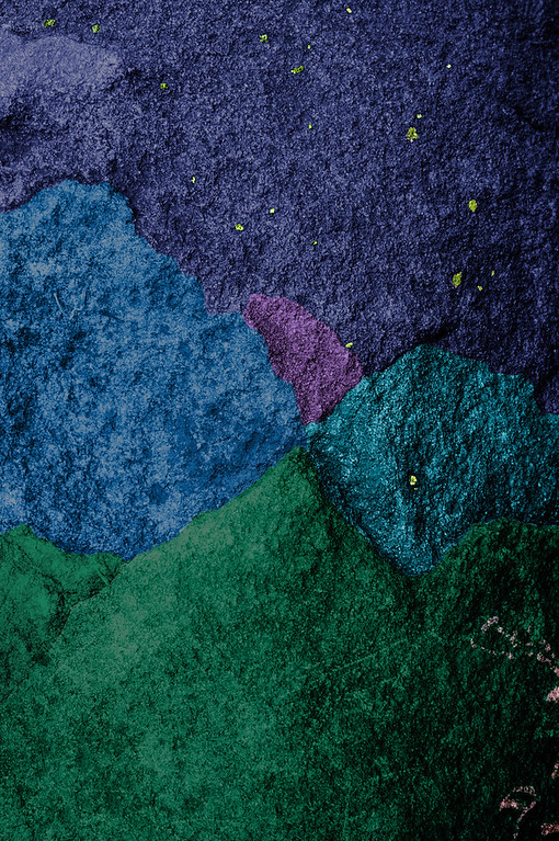 """Untitled rock fragment with blue, violet and green (23"""" x 35"""")"""