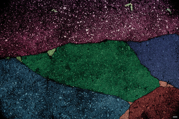 "Untitled gravel fragment with red, green and blue  (36"" x 25"")"