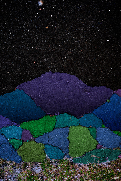 "Purple mountain with stars (23"" x 34"")"