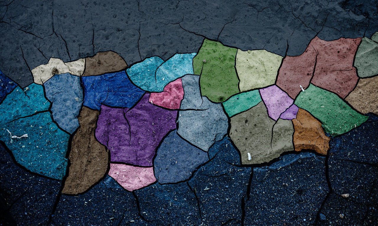 "Untitled colorized mud cracks (33' x 20"")"