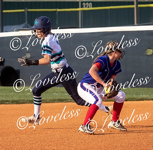 Siegel's Presley Leebrick avoids Lincoln County's 	Anna Marie Thorton and makes it safely to second base. JIM DAVIS