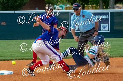 Siegel's Caitlyn McCrary slides into second safely as the ball gets by Lincoln County's Anna Marie Thorton and 	Kylie Reese. JIM DAVIS