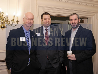 Brian Hassett from the United Way, left, with Jeff Trudeau of Saratoga National Bank & Trust and Brendan Ketcham of Catskill Hudson Bank.