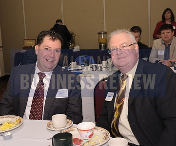Thomas Wight of Beardsley Architects + Engineers, left, and Stephen Schifley of the Albany Marriott Hotel.