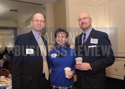 Christopher Meyer of Whiteman Osterman & Hanna, left, with Sabrina Hellmann of Proctors and Matthew Grattan of UAlbany.