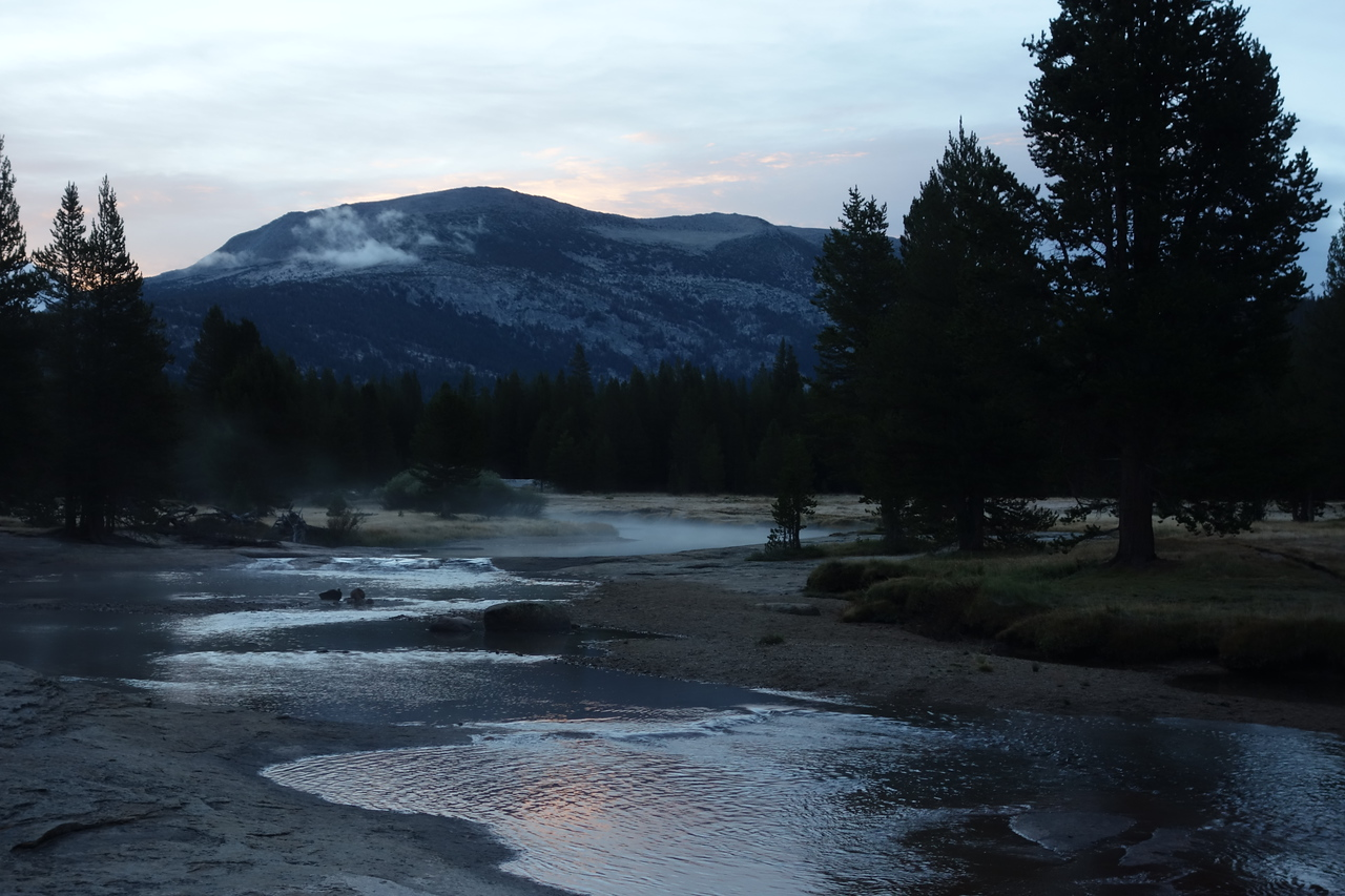 Morning mist on the Lyell Fork of Tuolumne River