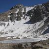 Meysan Lake was still partially frozen.  Le Conte in background.