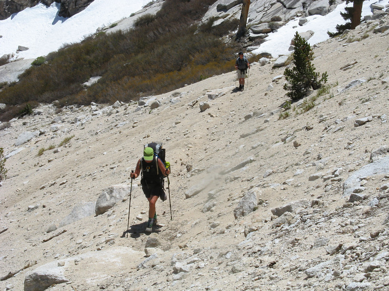 Heading up the steep sandy part above the shelf