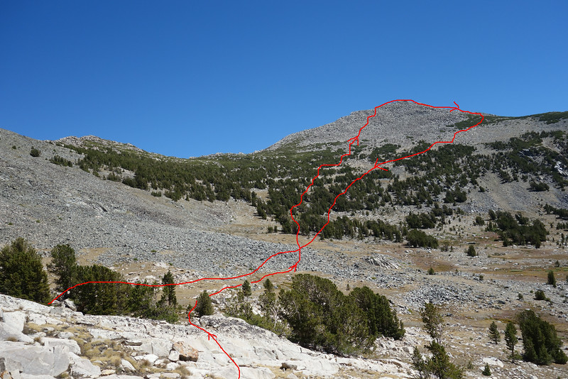 Rough estimation of my route.  Did not like my ascent route.  Would prefer to go up my descent route.