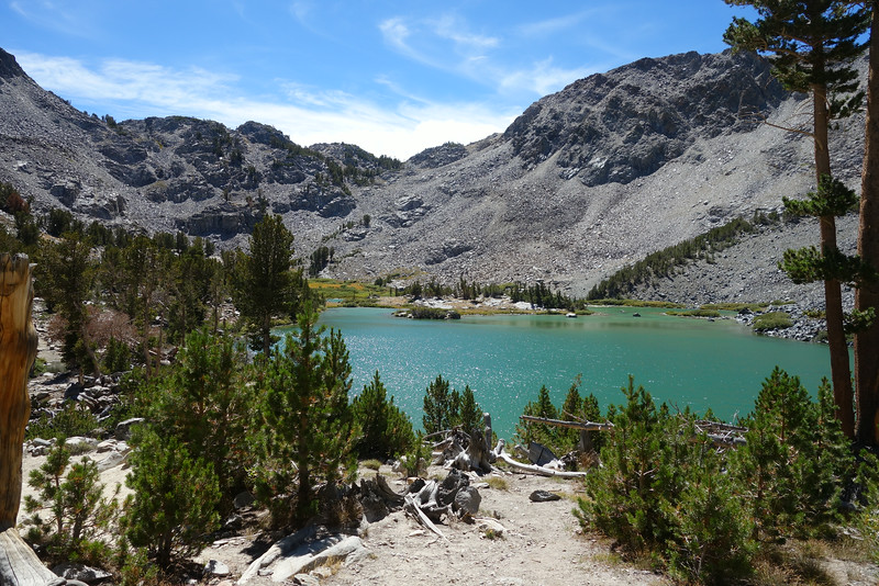 Barney Lake; Duck Pass is the low point just R of C