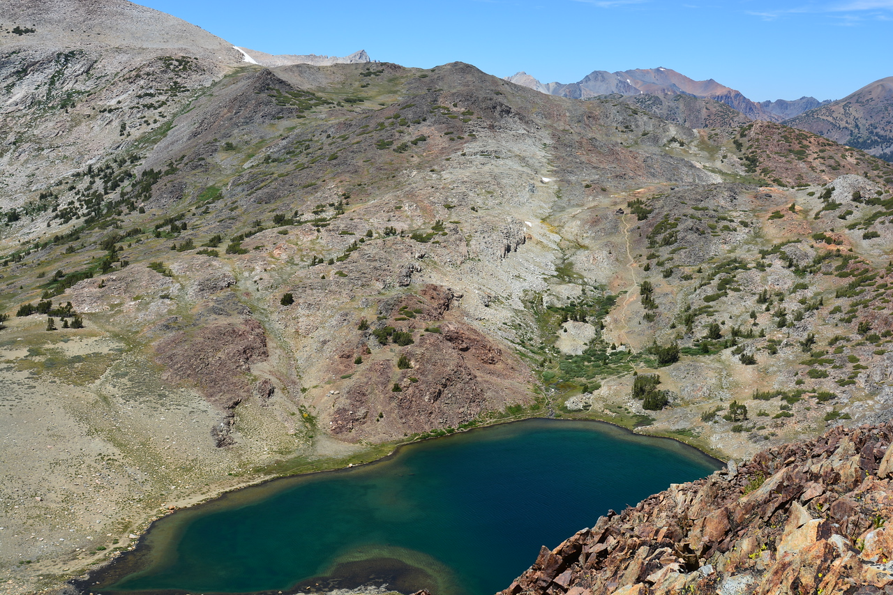 Unnamed lake below.  Trail to Great Siera Mine seen heading NE from lake.