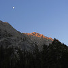 Moonset and alpenglow above the overflow lot