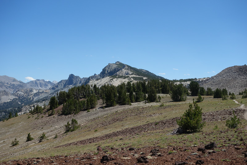 A look back.  Duck pass is seen on left, and Duck Lake Peak with the cloud touching it's left summit.