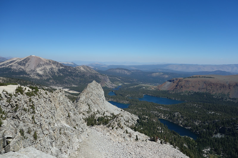 Wow... what a view.  Mammoth Mtn in distance.  Cyrstal Crag. TJ Lake (closest), Lake George and Lake Mary (side by side), Lake Mamie, Twin Lakes.