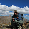 Chica on the summit.  I stayed barely long enough to snap a few photos.  Very windy and didn't know what the clouds to the west were going to do.