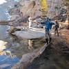 Jim crossing Mirror Lake