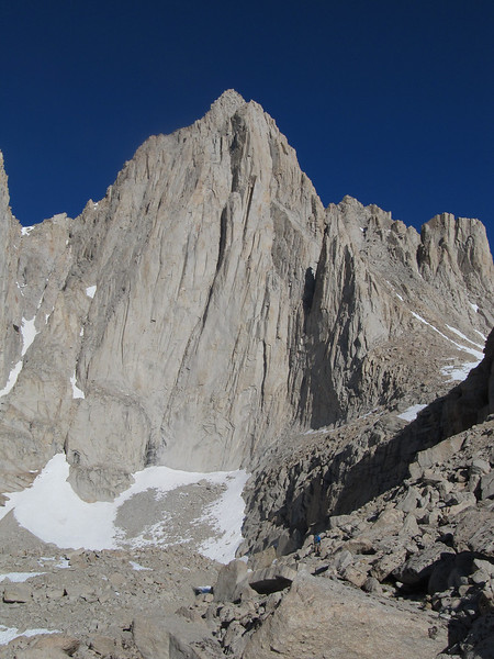 Whitney's East face and the remaining snow remnants below Iceberg Lake.