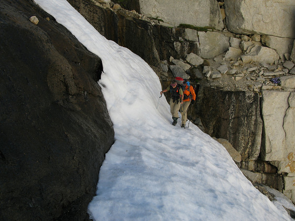 Crossing the waterfall... had a hard time here... then RP said, move your left foot to the flat spot (which was like, 12 inches downslope).  Duh... a flat surface is more secure than a sloped one! (photo by Tomcat)