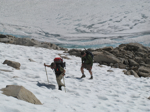 Crossing a small snow section above Iceberg Lake (photo by SierraGator)
