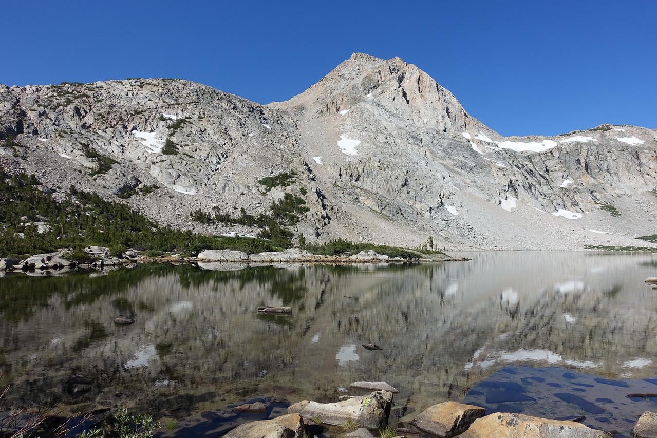 Peak 12,353 reflecting in Piute Lake