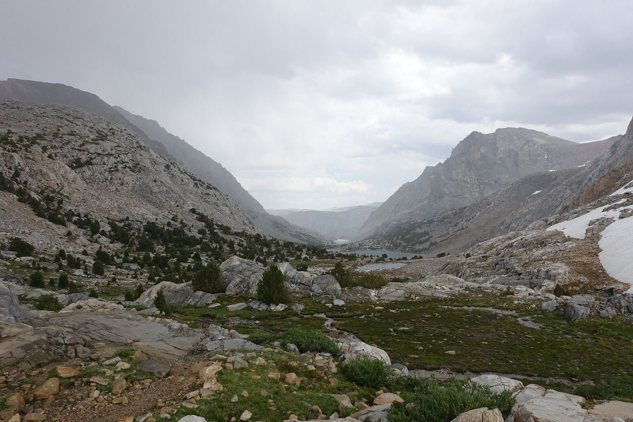 Rain as we head down Piute Pass trail
