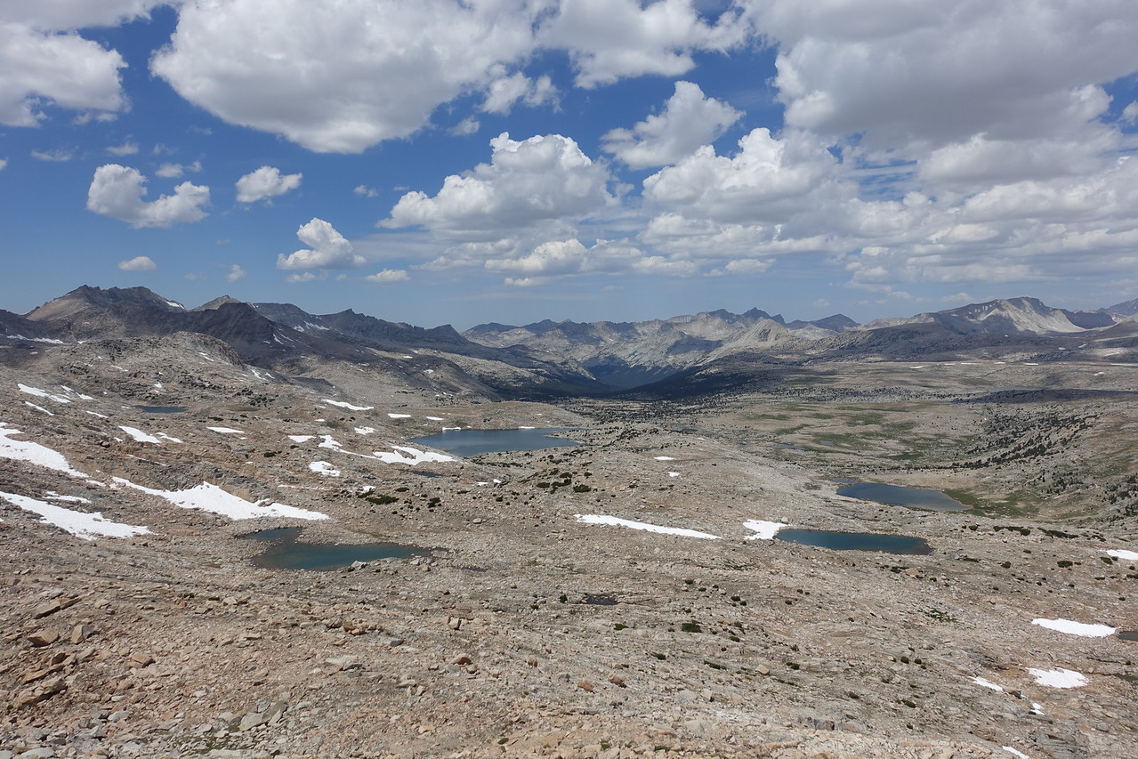 View west.  Muriel Lake is the large on on left.  Many others in the basin.