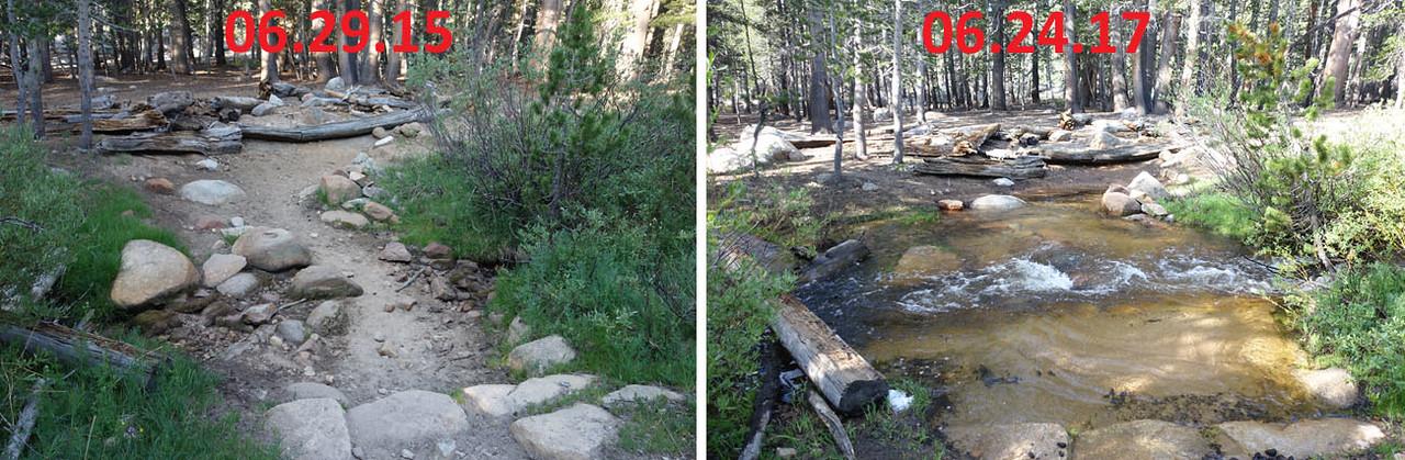 Same creek, 2 years apart