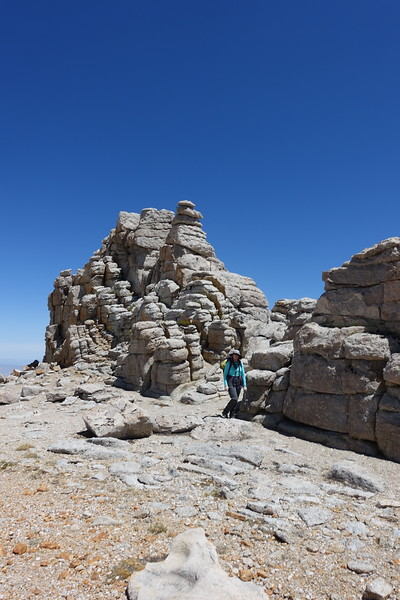 Mandy near the hoodoo-like formations on the way to Cirque