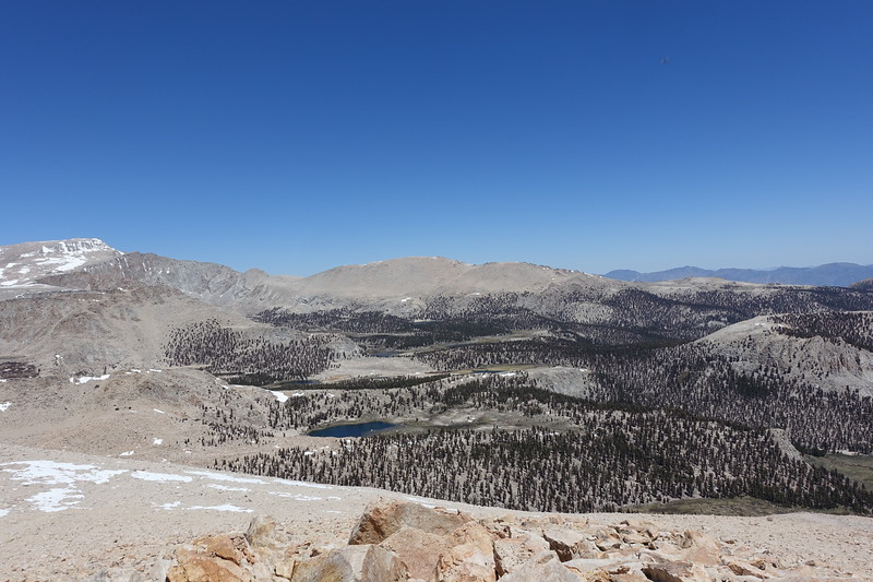 Another favorite view from the summit of Trailmaster.  I often sit here and drool and study routes.  Mt. Langely on left