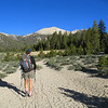 Rachel ahead with our first target, Trailmaster Peak in view.
