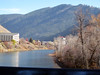 View from pedestrian bridge connecting Univ of Montana campus area with downtown Missoula