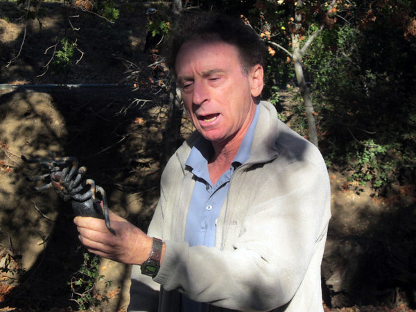 The walk was billed as a tarantula search -- but this one Ken holds is NOT real.