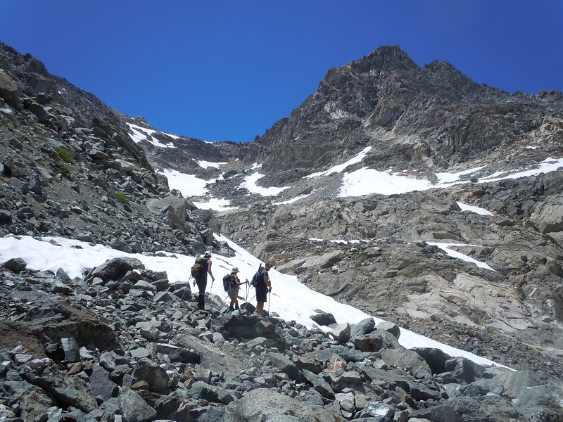 chute leading up the ridgeline to access Dragon