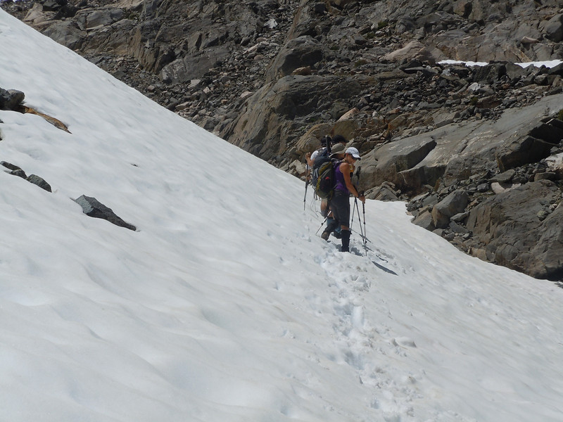 snow fills the chute nearly to the ridgeline approach