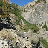 canyon above waterfall leading to the meadow - we will be mostly on the upper left crossing here