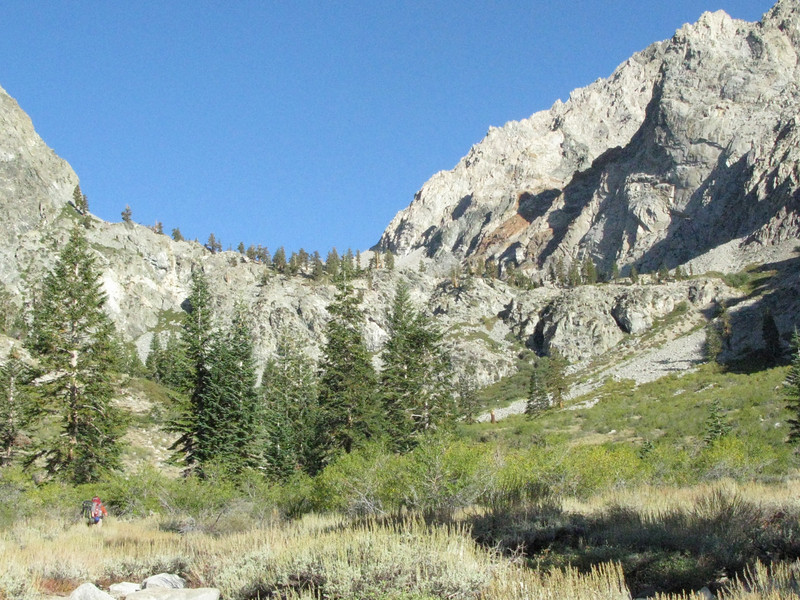 view from parking lot up the Golden Trout drainage