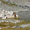 Moose beside DM Lake - traverse around to drainage in photo