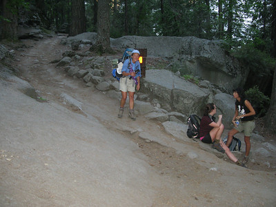 Karen splits off to stay on the JMT as we go up the Mist Trail