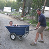 Lisa getting a ride to the tent camp