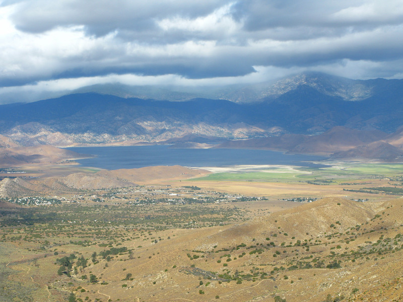 Lake Isabella and mountains west